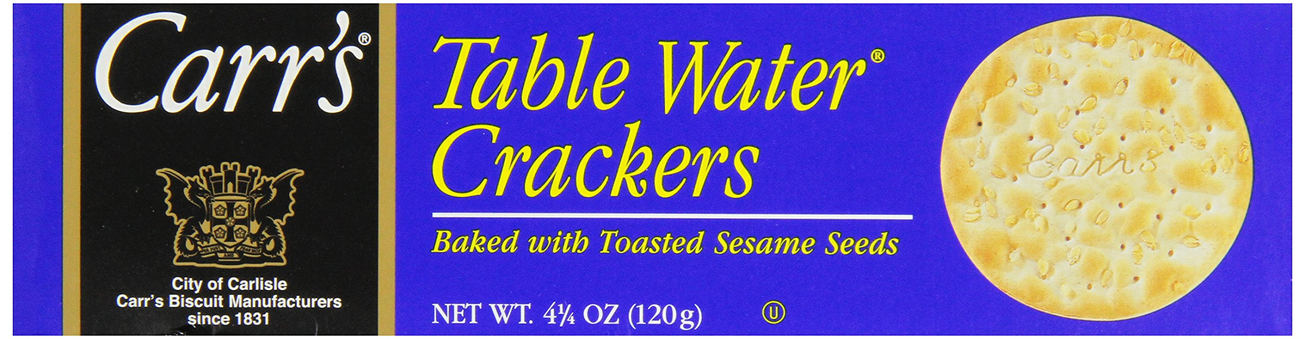 Carr's Sesame Table Water Crackers, 4.25-Ounce Boxes (Pack of 6) by Carr's