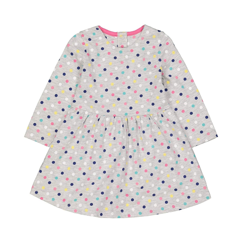 Mothercare Baby Girls' Long Grey Spot Dress Short Sleeve QB686