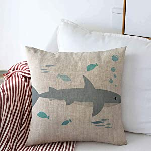 """Pillow Case Life Aquarium Shark Fishes White Abstract Seafood Beach Bottom Creature Fish Design Farmhouse Decor Throw Pillows Covers 16""""x16"""" for Winter Decorations"""