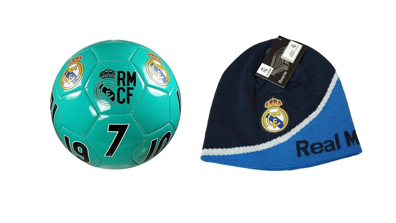 レアルマドリード 公式ライセンスのサッカーサイズ5ボール&ビーニーコンボ。 One Size  B07849SLQW