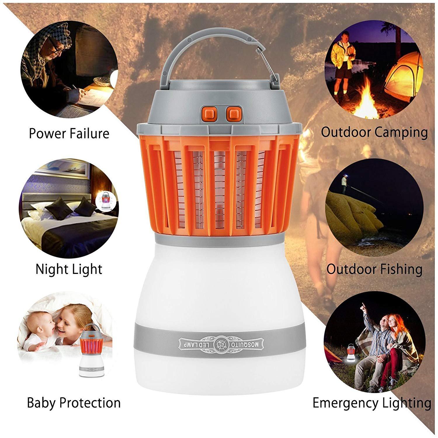 Fellee Bug Zapper, 2-in-1 Mosquito Killer & Camping Lamp Natural Mosquito Killer Lamp Travel Camping Lantern Pest Control USB IP67 Waterproof Insect Repeller for Indoor &Outdoor by Fellee (Image #6)