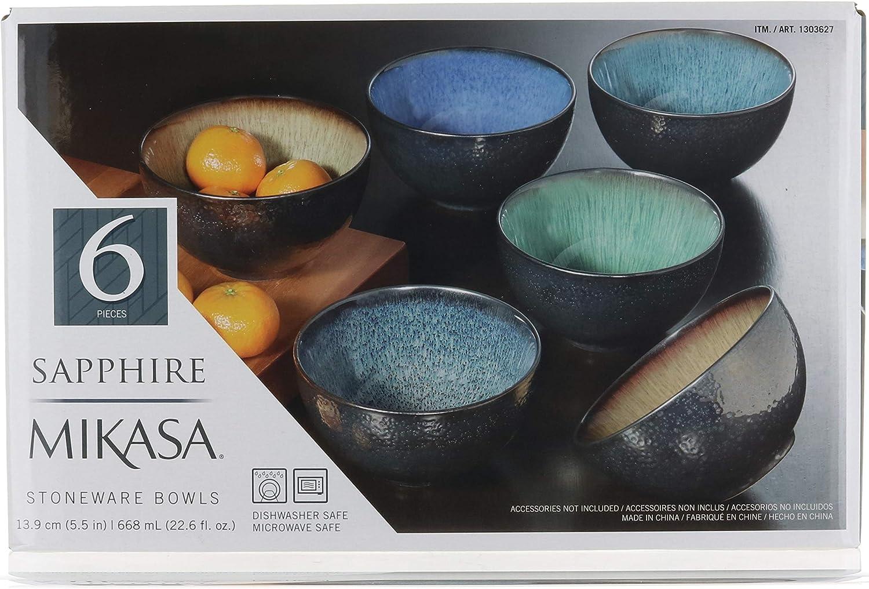 Mikasa Sapphire Stoneware Bowls | Set of 6 Bowls | Dishwasher Safe | Microwave Safe