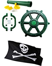 HIKS Products Green Kids Toy Climbing Frame Accessory Bundle Telescope, Pirate Wheel, Climbing Handles and FREE Pirate Flag also Suitable for Tree Houses, Childrens Play Houses and Dens