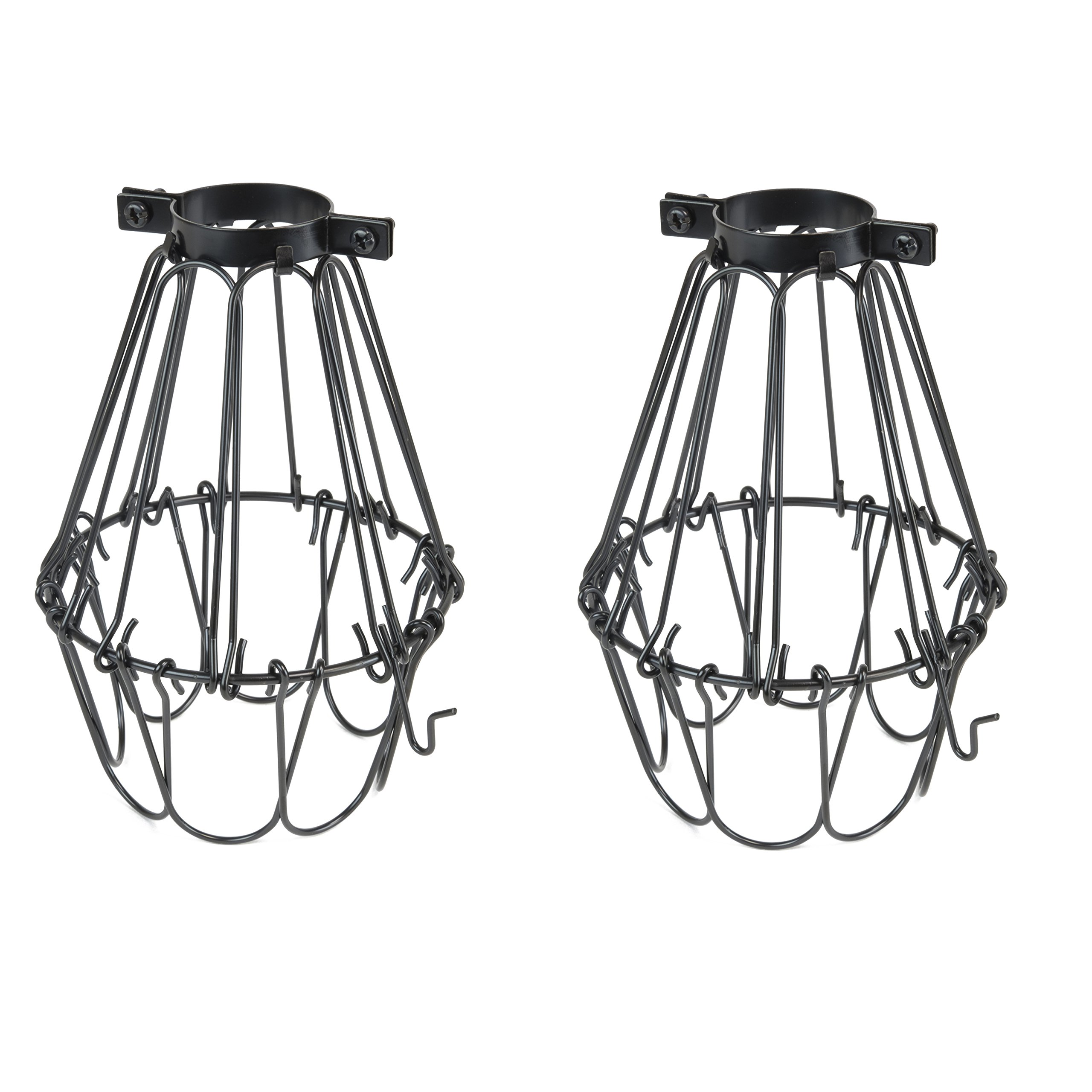 set of 2 industrial vintage style black hanging pendant