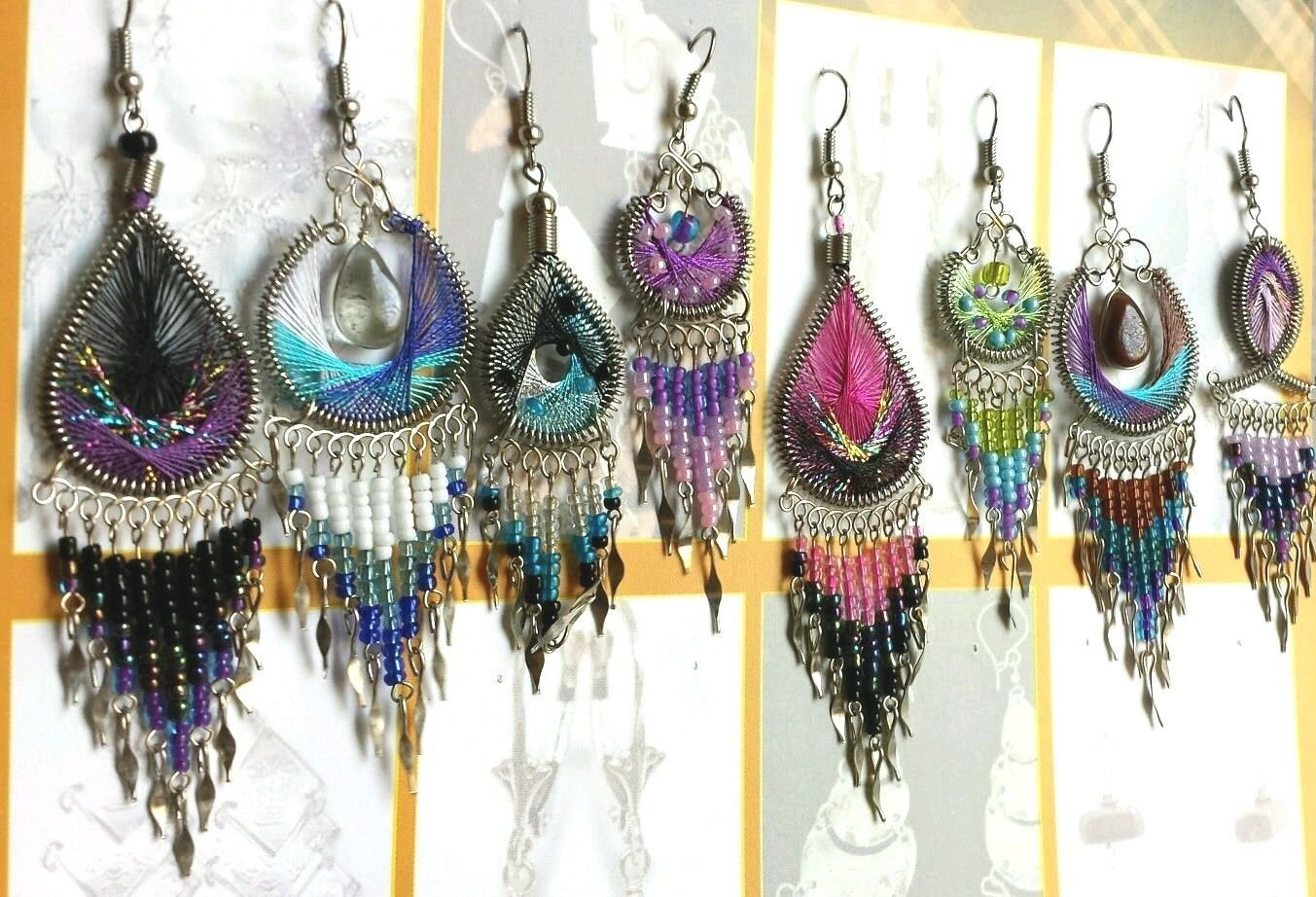 Wholesale 10 pairs of handmade dream catcher style thread dangle earrings