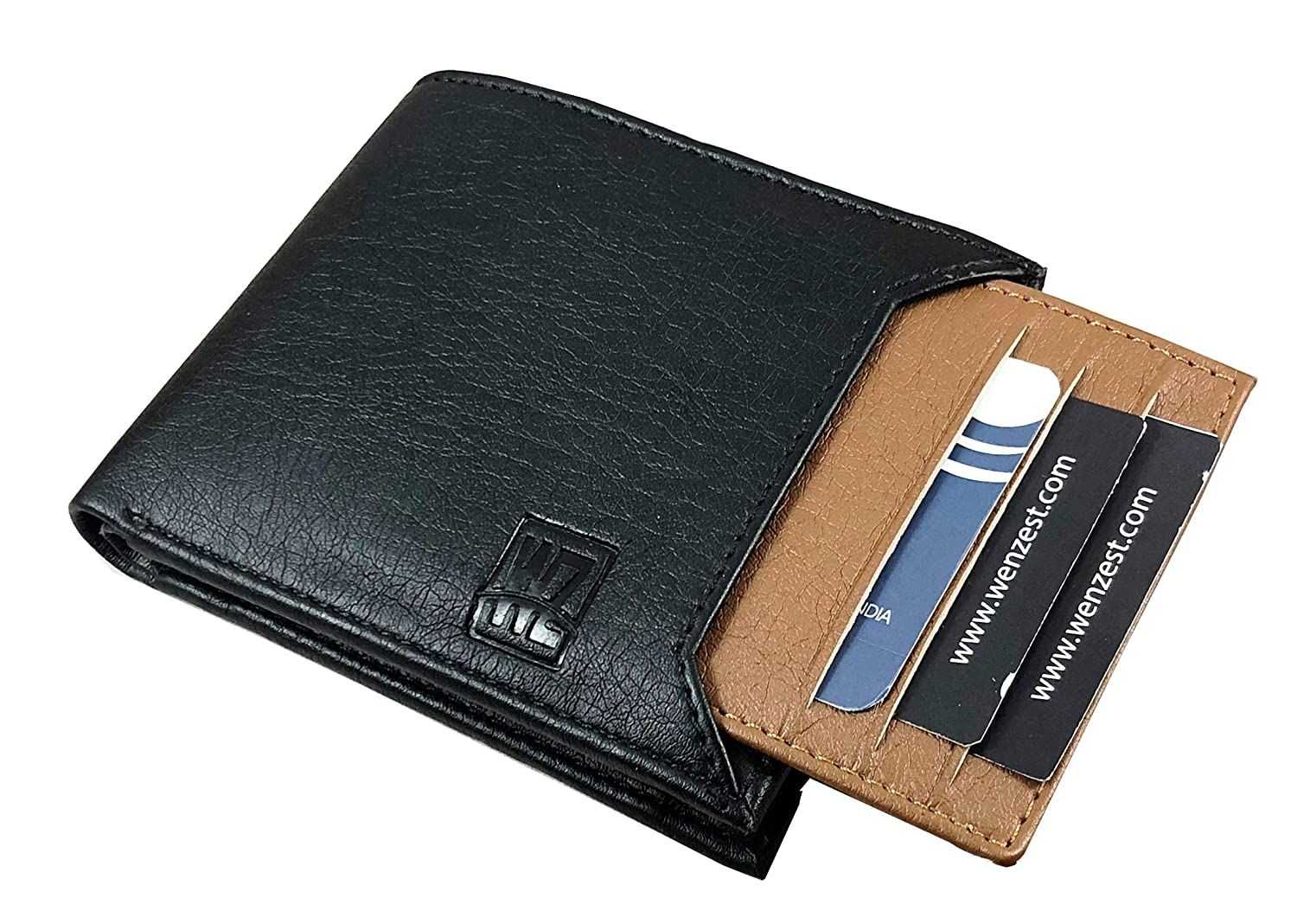 WENZEST Men Black, Tan Artificial Leather Wallet  6 Card Slots  Wallets