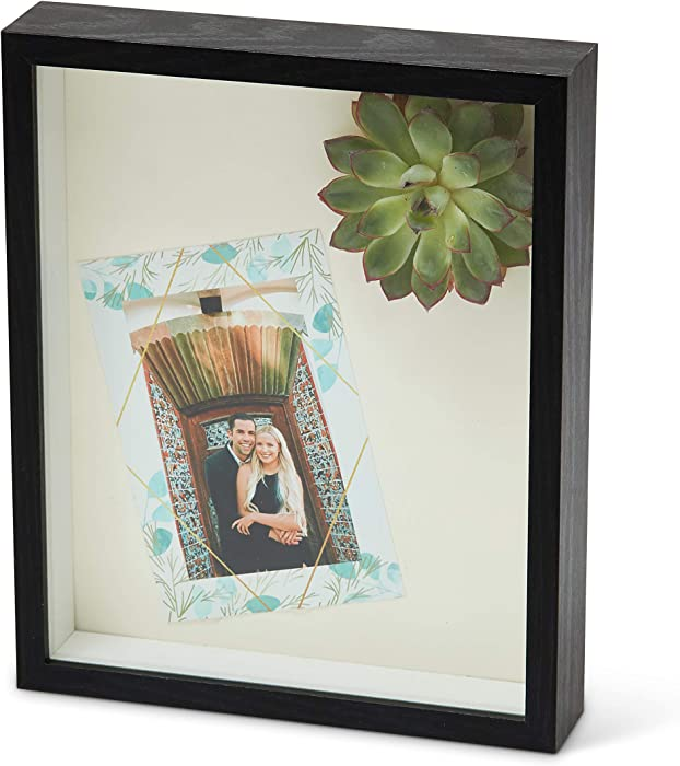 Shadow Box Frame - 8x10 - Black & White - Background Included - High-Density Fiberboard - Memorabilia/Tickets/Flowers - 3D Glass Display Case - Wedding Memory Box - Wooden Picture Frame (BLACK)