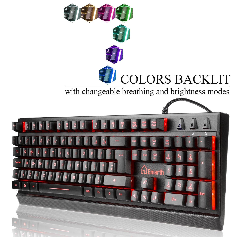 Amazon Emarth Mechanical Feel Gaming Keyboard 7 Colors Led