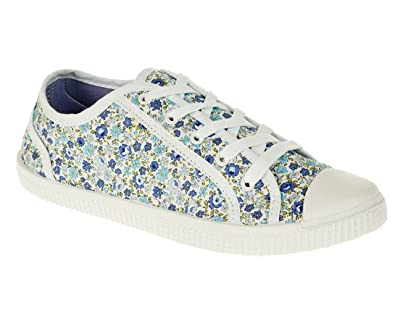 Spot On Ladies Daisy Print Casual Pumps