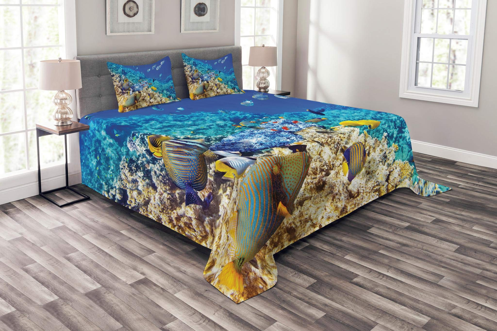 Lunarable Ocean Bedspread Set Queen Size, Clear Sea Animal World Corals Tropical Fishes and Starfish Egyptian Sea Image, Decorative Quilted 3 Piece Coverlet Set with 2 Pillow Shams, Aqua Blue and Tan