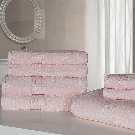 Dreamscene Juego de toallas de algodón egipcio Bale, luz rosa, 7