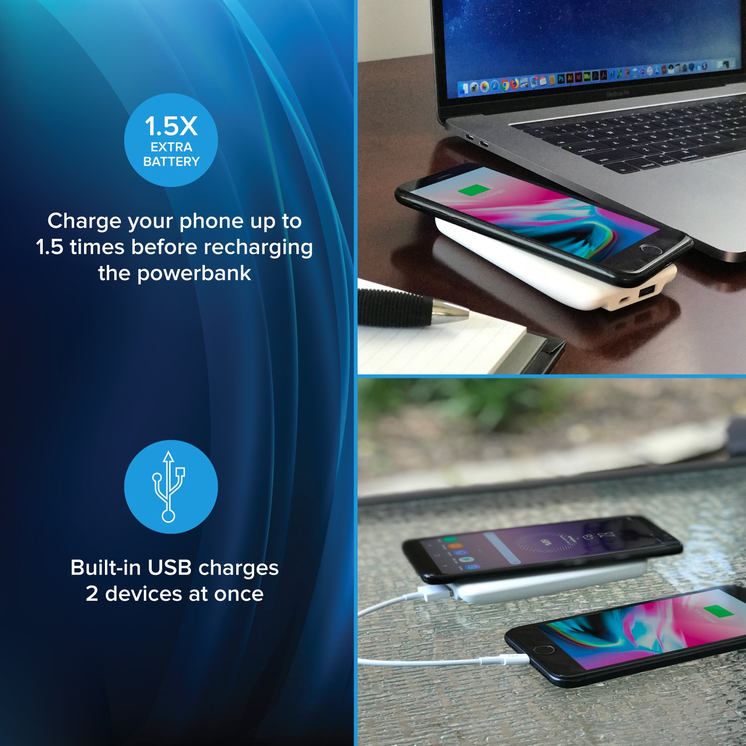 myCharge Wireless Charger Portable Charger Power Bank 5W/1A/3000mAh Qi Certified for Apple (iPhone XS, XS Max, XR, X, 8, 8 Plus) Android (Samsung Galaxy S8, S8+, Note 8, S7, S7 Edge, S6, S6 Edge)