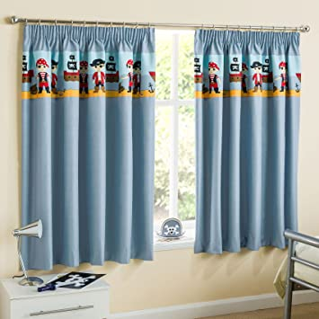 Pirates Childrens Blackout Thermal Pencil Pleat Curtains, Blue ...