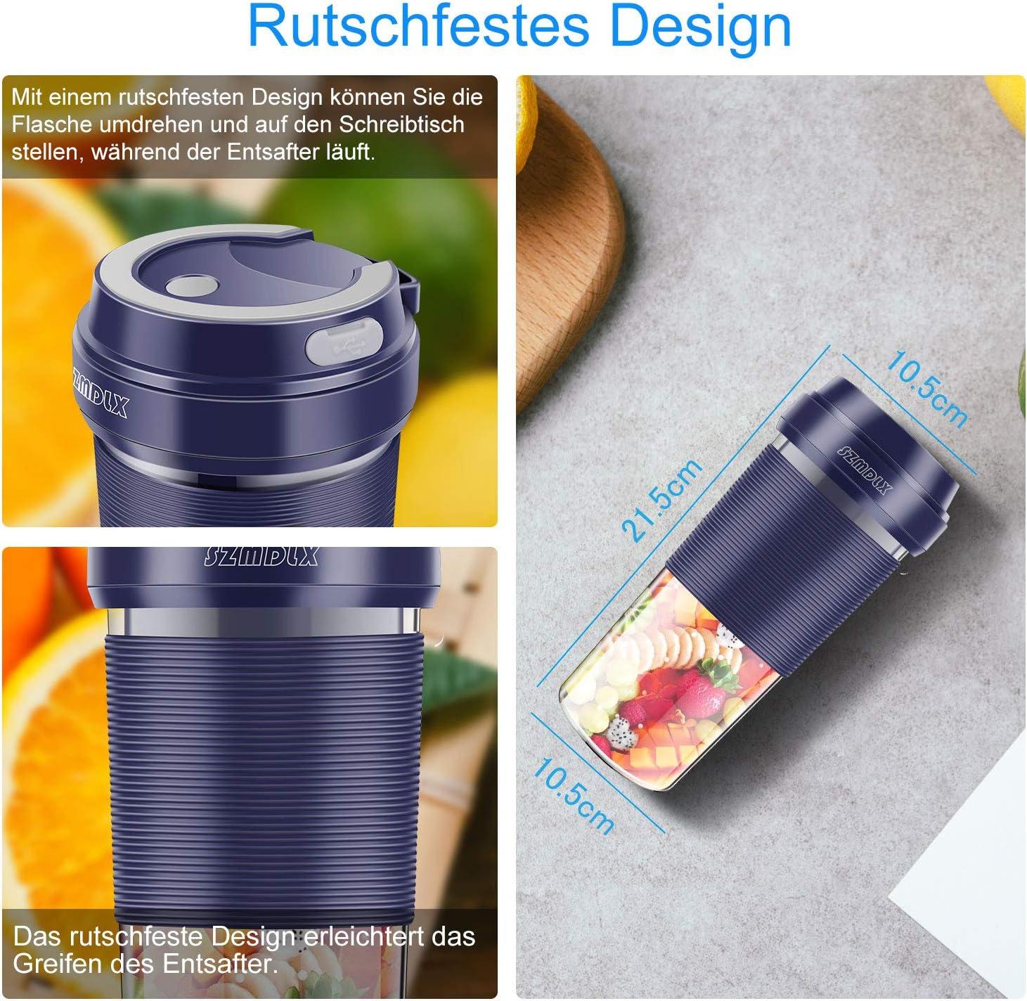 300ml Tragbarer Mixer Smoothie Maker Tragbar Entsafter Blender f/ür Milkshake Smoothie Baby Nachrung f/ür Sport Haushalt BPA-Frei Reise SZMDLX Mini Standmixer Juicer mit USB Wiederaufladbare