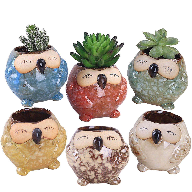 ROSE CREATE 6 Pcs 3 Inches Owl Pots, Little Ceramic Succulent Owl Planters with Drainage Holes – Big Smile Owls
