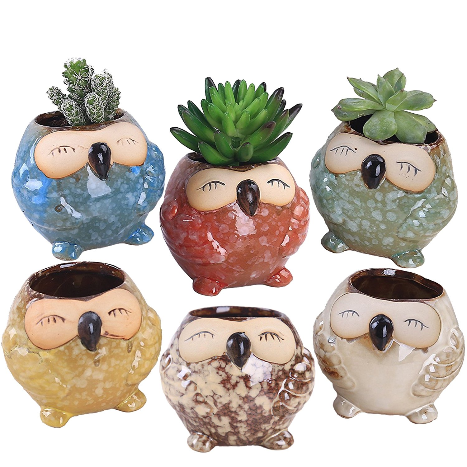 Rose Create 6 Pcs 3 inches Owl Pots, Little Ceramic Succulent Owl Planters with Drainage Holes - (Big Smile Owls) by ROSE CREATE