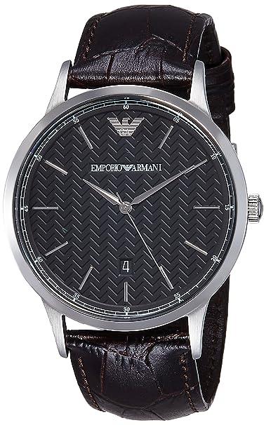 Emporio Armani Reloj Hombre de Analogico con Correa en Cuero AR2480: Amazon.es: Relojes