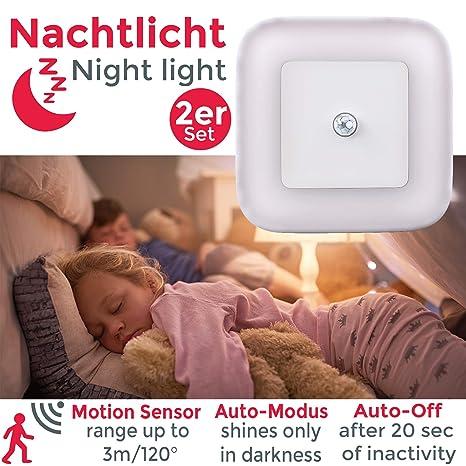 Luz nocturna con sensor de movimiento LED, Set de 2 Lámparas 65x65x30mm, Luz de