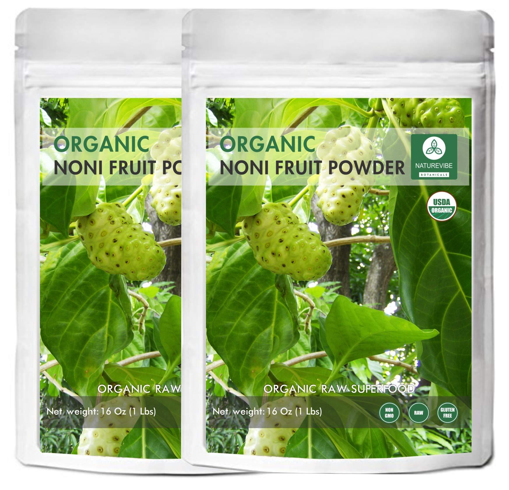 Naturevibe Botanicals USDA Organic Noni Fruit Powder (2lbs) (2 Pack of 1lbs Each) - Morinda Citrifolia by Naturevibe Botanicals
