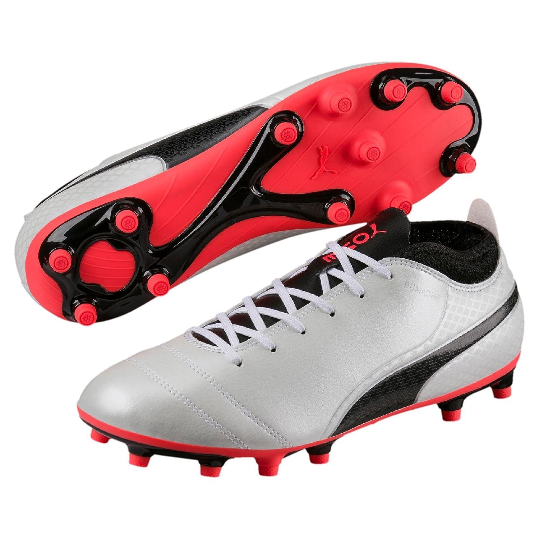 Puma One 17.4 FG, Zapatillas de Fútbol para Hombre 45 EU|Blanco (White-black-fiery Coral)
