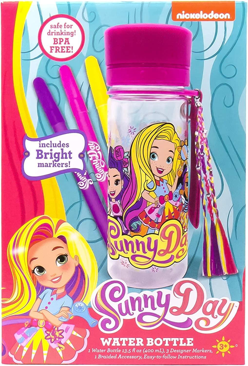 Sunny Day Color Your Own Water Bottle by Horizon Group USA, Multicolor