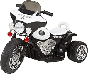 3 Wheel Mini Motorcycle Trike for Kids, Battery Powered Ride on Toy by Rockin ' Rollers – Toys for Boys and Girls, 2 - 5 Year Old – Police Car