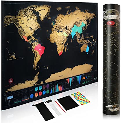Amazon scratch off world map by amris royal with 7 amazing scratch off world map by amris royal with 7 amazing bonus accessories guitar pick gumiabroncs Gallery