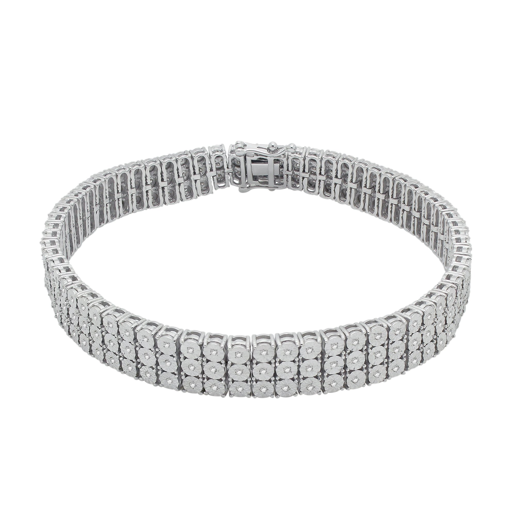 0.83 Cttw Round Cut Natural Diamond 14K White Gold Over Sterling Silver Three Row Tennis Bracelet