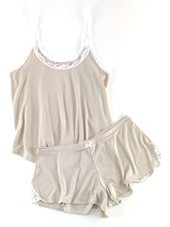81146941be Victoria s Secret Ribbed Cami Tank   Shorts Pajama Set Small Champagne
