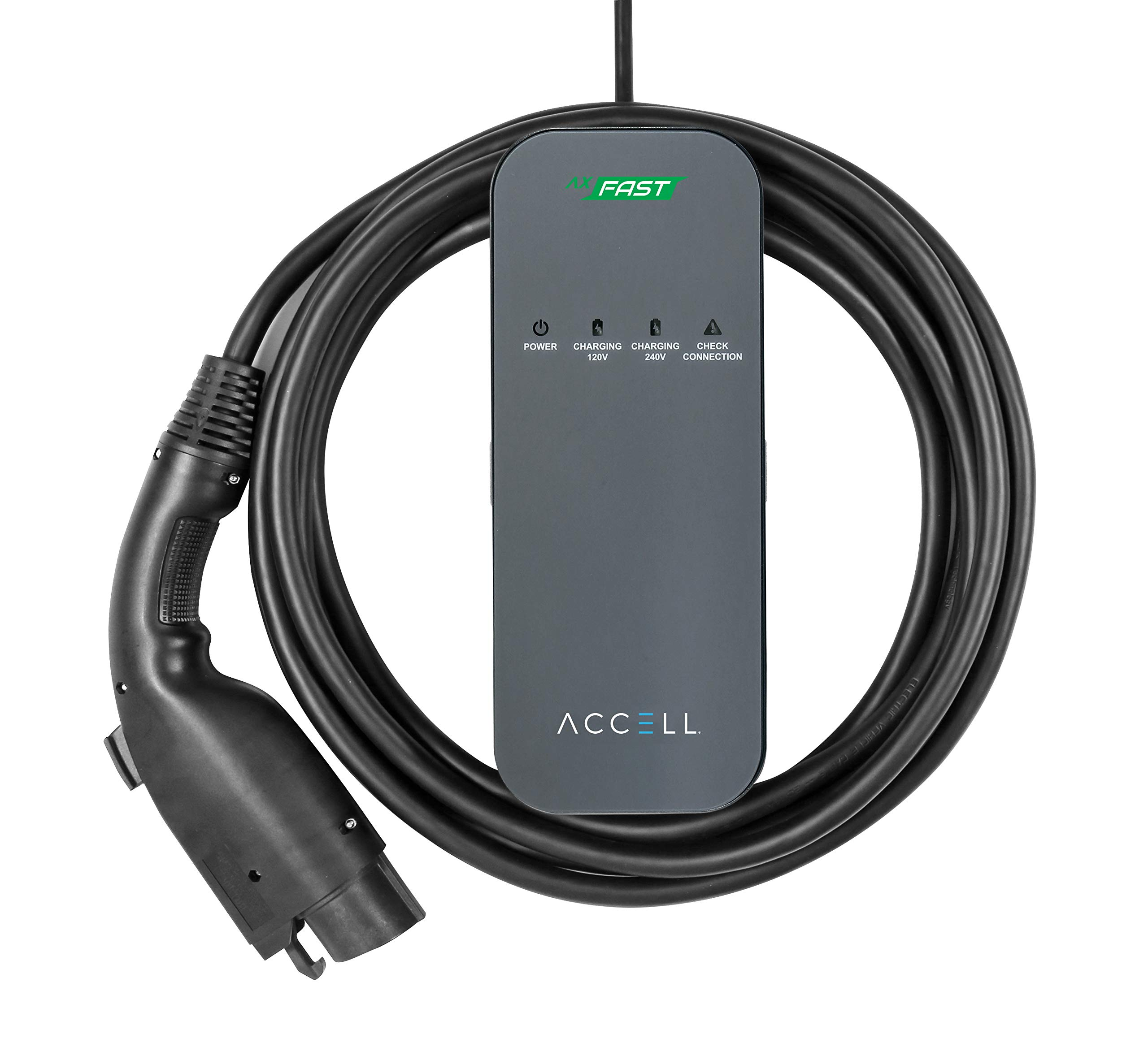 Accell AxFAST Dual-voltage Portable EVSE - 120/240V Electric Vehicle Charger Level 2 compatible with Tesla Chevy Volt Nissan Leaf Chrysler Pacifica Toyota Prius Hyundai Electric Cars and more by Accell