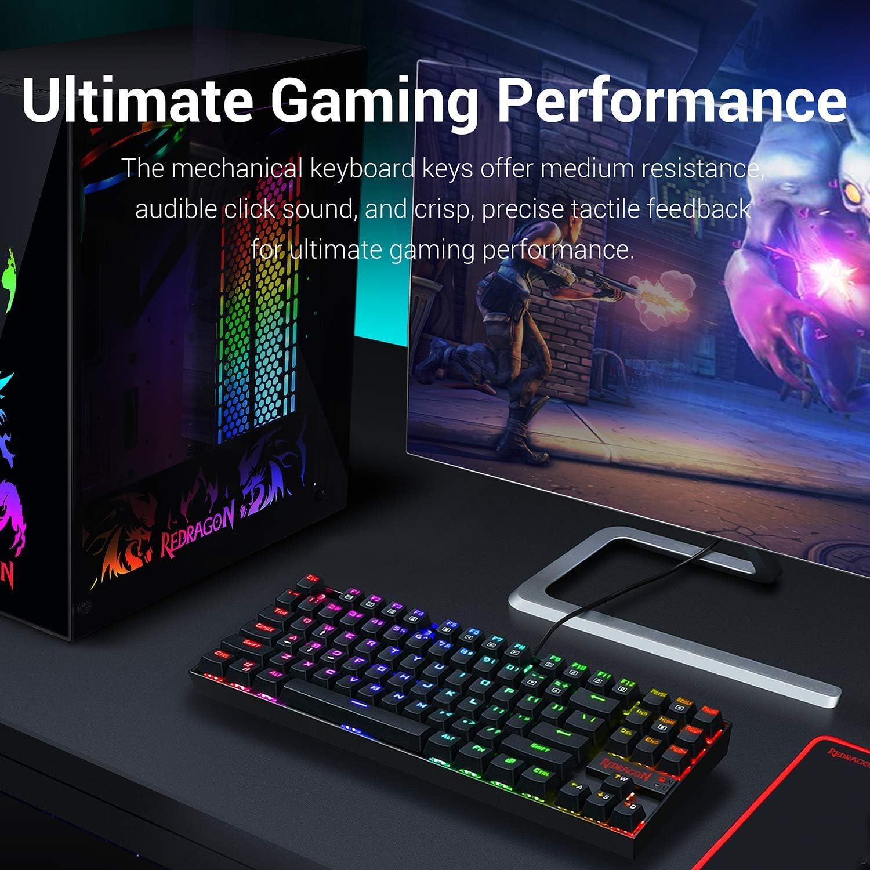 Redragon Teclado para Juegos Mecánico RGB LED Iluminado K552 KUMARA 87 Teclas Teclado Mecánico Interruptor Azul para PC Gaming Diseño Compacto De ...