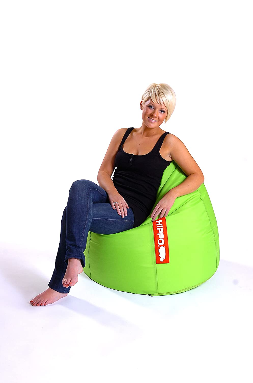 Hippo Pod Large Lime Water Resistant Filled Bean Bag Gaming Chair Seat