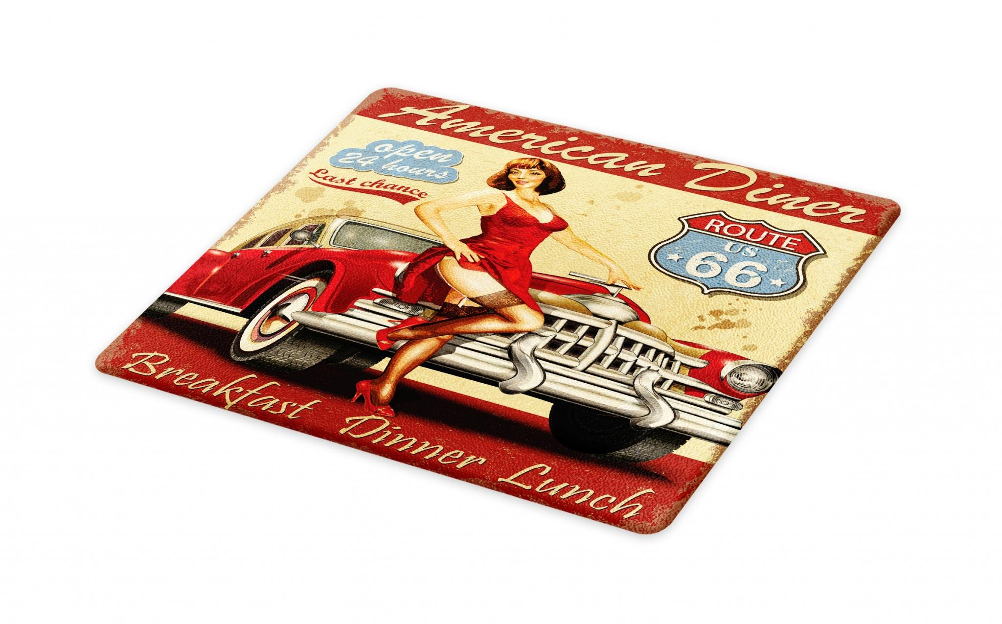 Lunarable Route 66 Cutting Board, American Diner Advertisement Poster with Sexy Girl and Automobile Nostalgic Art, Decorative Tempered Glass Cutting and Serving Board, Large Size, Mustard Red