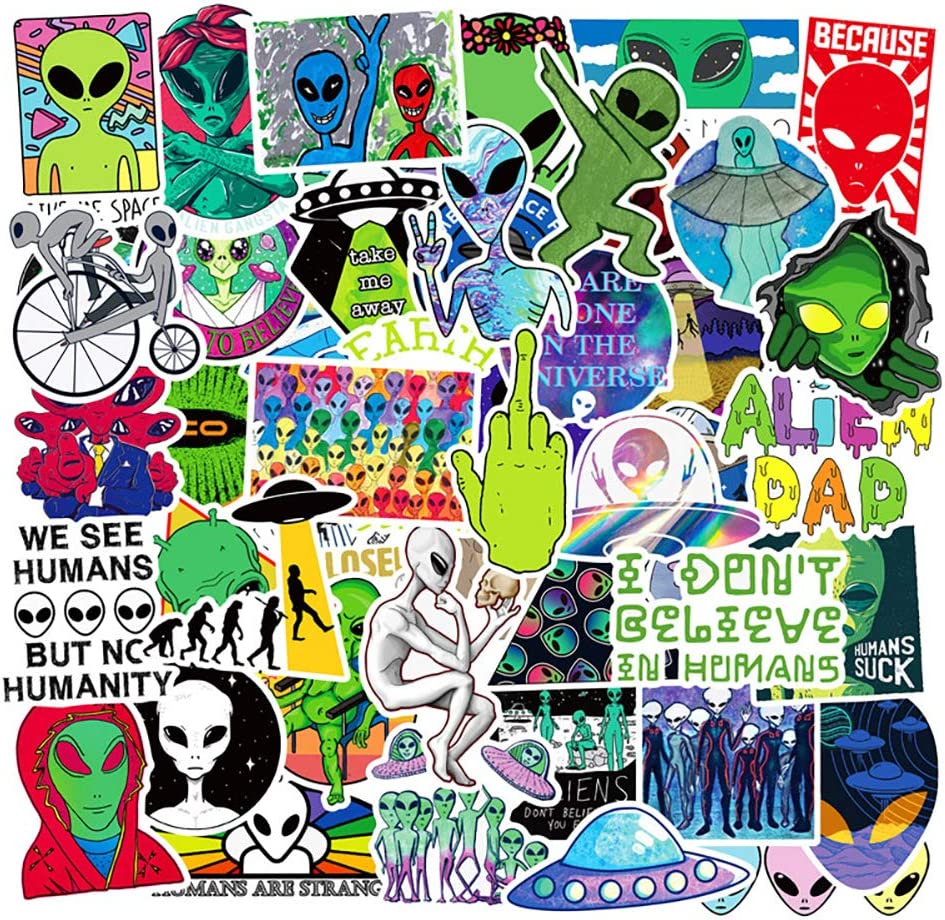 Water Bottle Alien Stickers Laptop Stickers UFO Stickers Pack 50 Pcs Decals for Water Bottle Laptops Ipad Cars Luggages