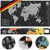 #benehacks Weltkarte Zum Rubbeln in Deutsch - Rubbelweltkarte - Landkarte Zum Freirubbeln (Poster Silber/Schwarz 84 x 44 cm, inkl. Geschenk-Verpackung)