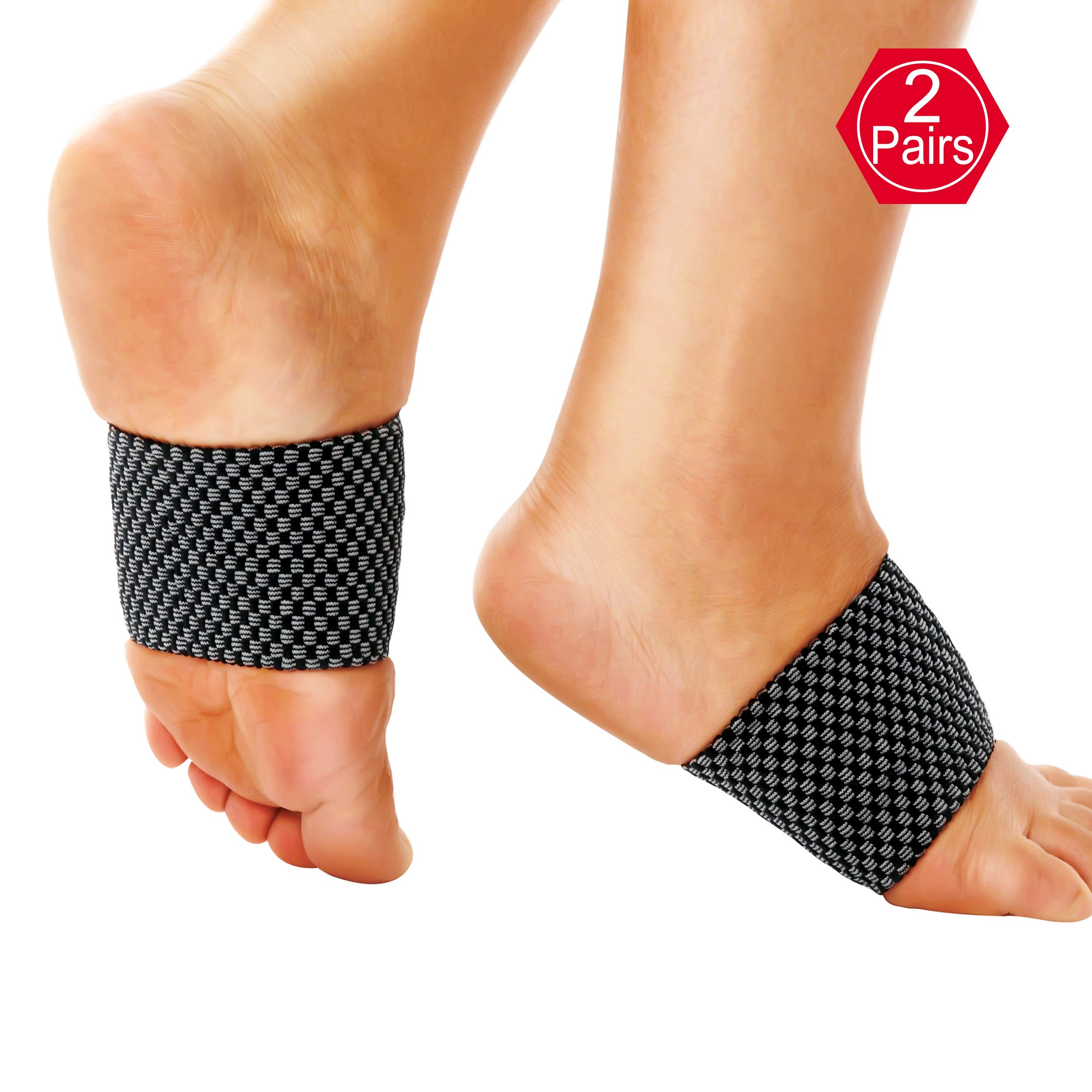 EHbee Foot Arch Support Brace, 2 Pairs Plantar Fasciitis Sleeve, Fallen Arch Compression Strap Band Mens Womens, Best Pain Relief, Heel Spurs, Flat Feet, High Arches Size L