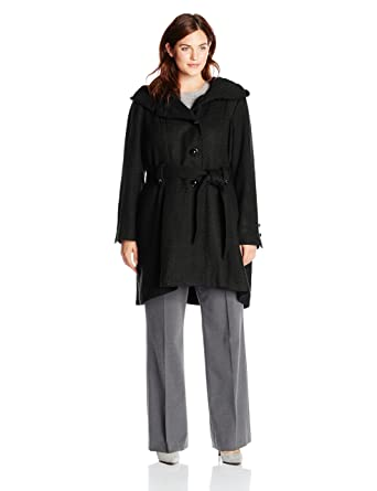 2ae9c916546 Steve Madden Women s Plus-Size Single Breasted Wool Coat at Amazon ...