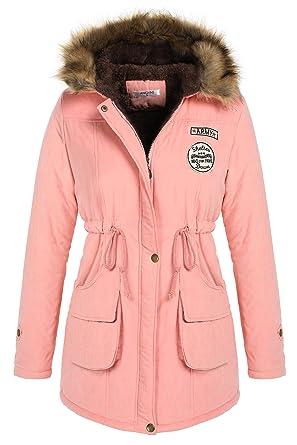 timeless design f1087 9ba35 Beyove Damen Warm Winter Jacke lang Mantel Winterjacke Fell ...