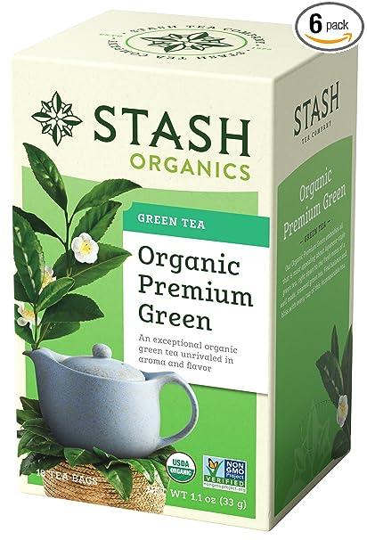 Stash Tea, té verde premium orgánico, caja de bolsas de té ...