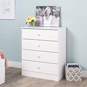 Prepac Astrid Dresser with Acrylic Knobs 4-Drawer Chest Crystal White