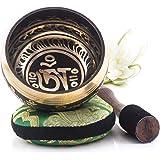Tibetische Klangschale – Om Mani Padme Hum Design – Vollständiges Set mit Klöppel und Kissen – Made in Nepal