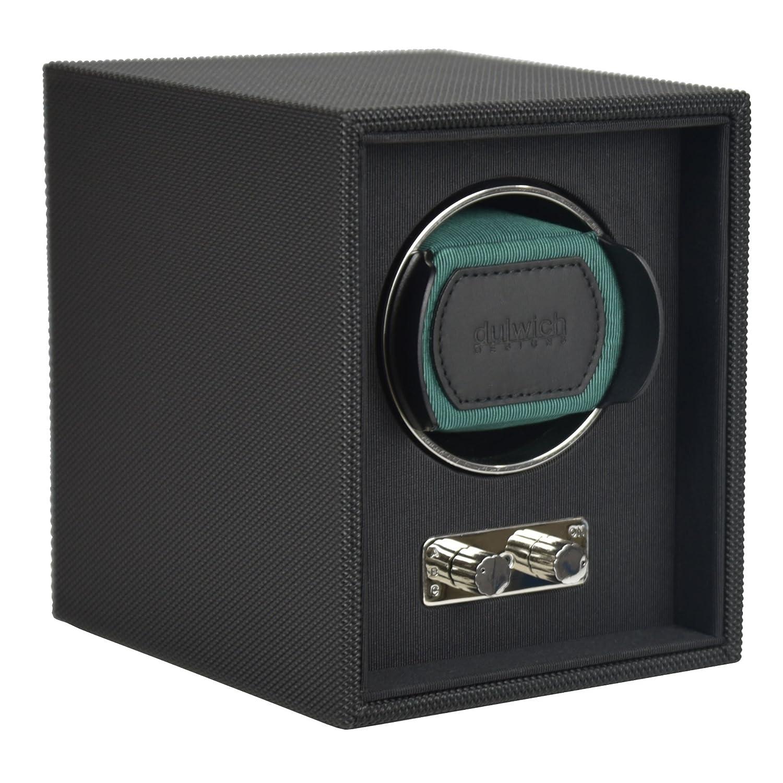 Dulwich Designs strukturiert schwarz single Armbanduhr Rotator Black & Racing Green