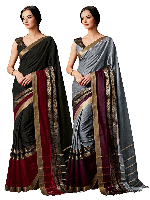 ELINA FASHION Pack of Two Sarees for Indian Women Cotton Art Silk Printed Weaving Border Saree || Sari Combo (Multi 16)