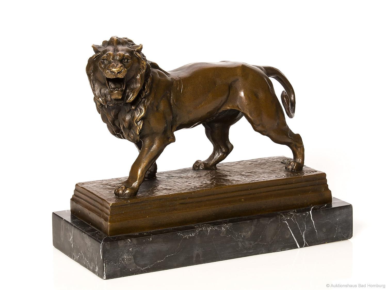 Bronzefigur Löwe Bronzeskulptur Marmorsockel Figur Lion Skulptur Antik-Stil