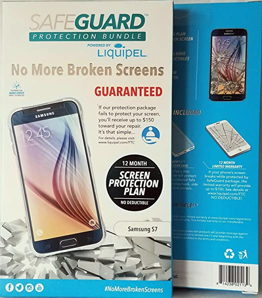 timeless design fcbfc dd207 Amazon.com: Liquipel Samsung Galaxy S7 SafeGuard Protection Bundle ...