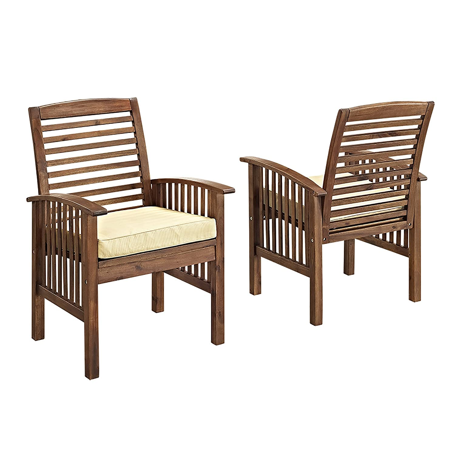 Gentil Amazon.com : WE Furniture Solid Acacia Wood Patio Chairs, Set Of 2 : Garden  U0026 Outdoor