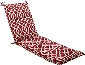 Pillow Perfect Outdoor/Indoor New Chaise Lounge Cushion, 72.5 in. L X 21 in. W X 3 in. D, Geo Red