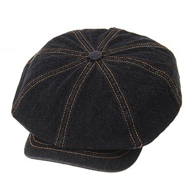 WITHMOONS Denim Cotton Newsboy Hat Baker Boy Beret Flat Cap KR3613 (Black) c9393014434d
