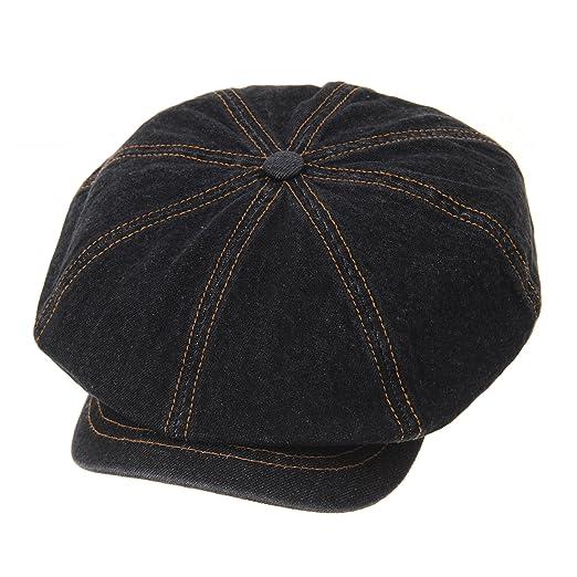 f3a2efedc72 WITHMOONS Denim Cotton Newsboy Hat Baker Boy Beret Flat Cap KR3613 (Black)