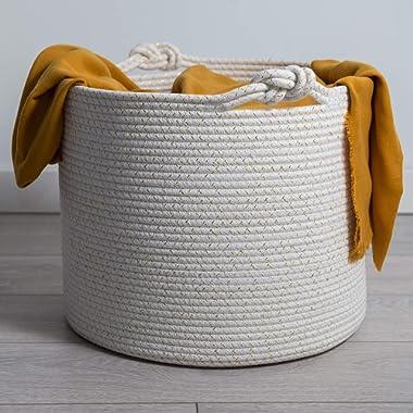 Cotton Rope Basket | Decorative & Large Blanket Basket for Living Room | Ergonomic Toy Storage, Baby, Towel, Laundry, Woven Storage Baskets| Stylish Nursery Bins | Great Gift Idea - 15 x15 x13